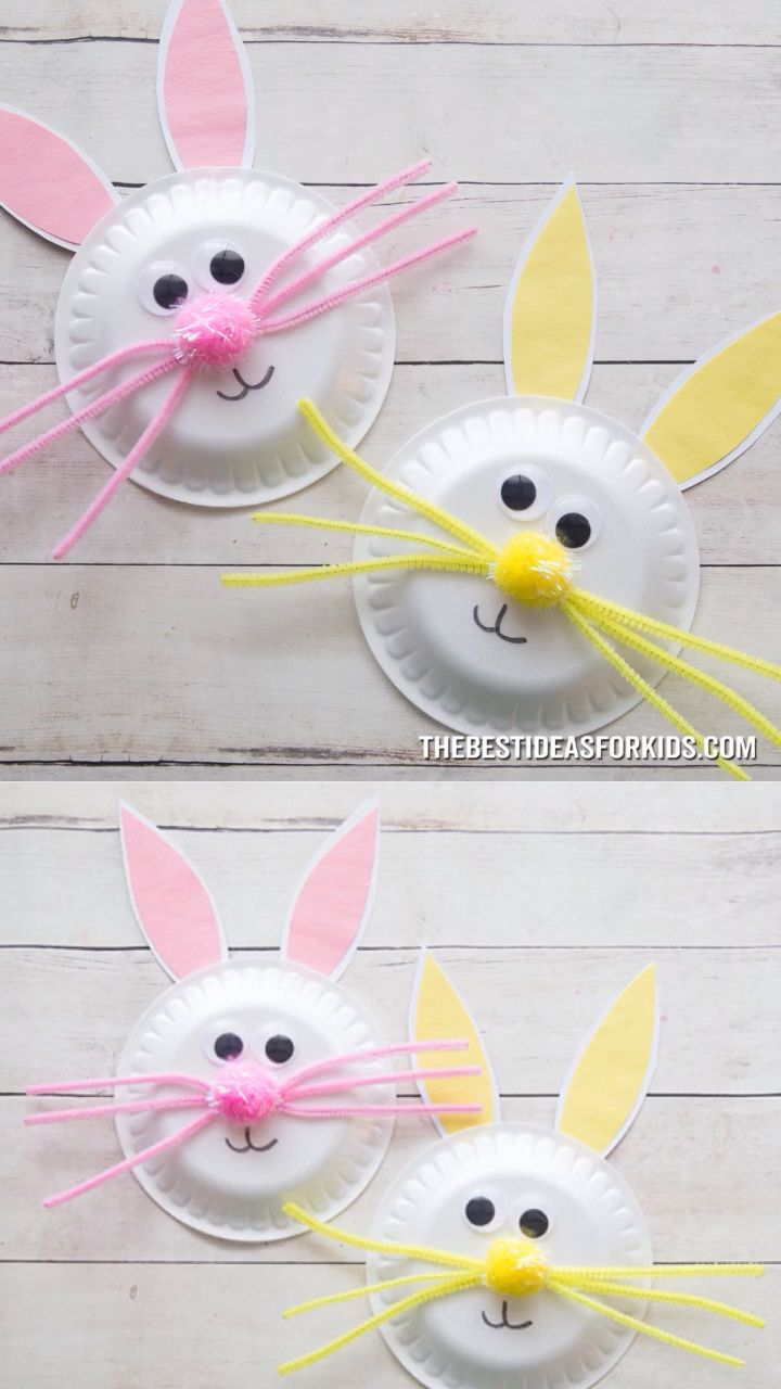 DIY Craft: PAPER PLATE EASTER BUNNY 🐰 - such a cute Easter craft for kids! Great for preschool or kindergarten too. <a class=