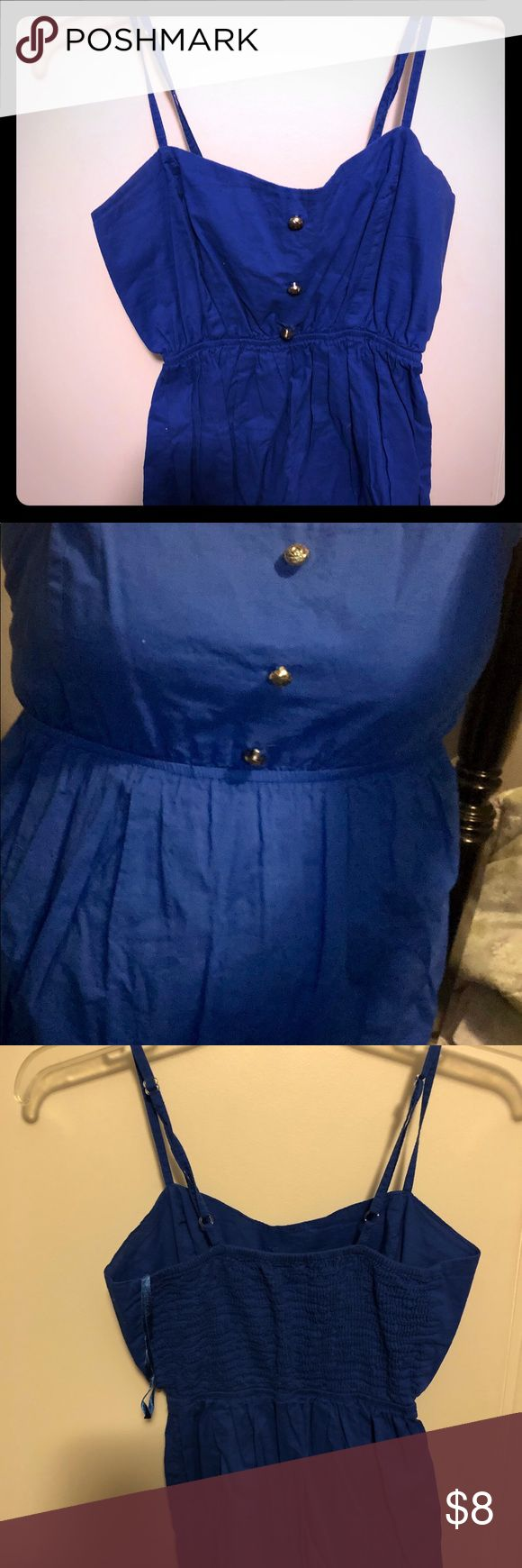 Primark Blue Top Blue top. UK size 12, US size 8. Has buttons on front and cinched in back. Great casual top for summer! Atmosphere Tops Tank Tops