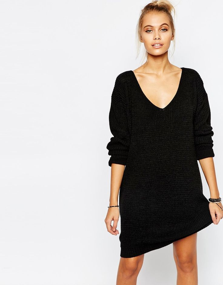 Bohoo+Plunge+Neck+Jumper+Dress
