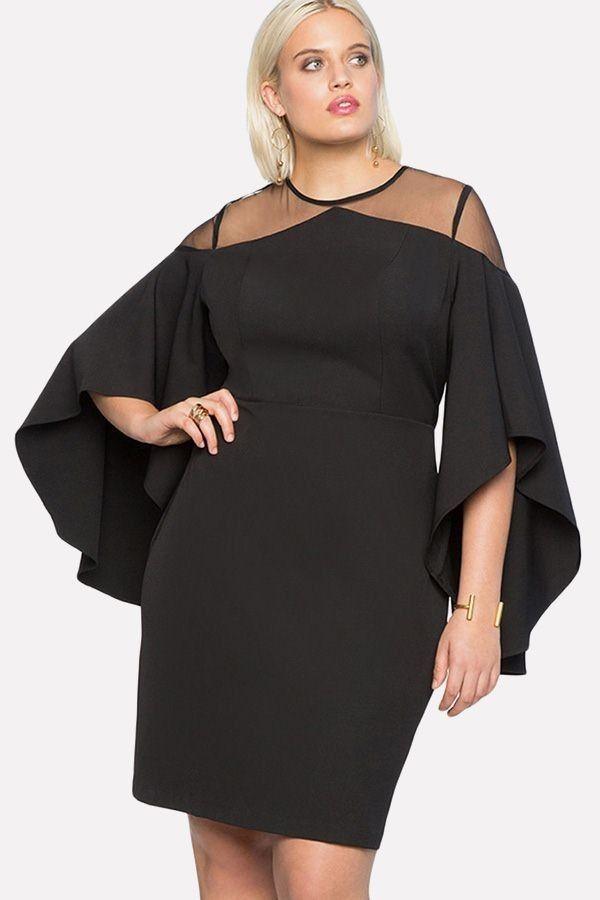 23495cda3 Black Flare Sleeve Mesh Sexy Bodycon Dress #046995 @ Plus Size Womens  Dresses-Plus