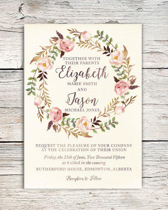 Watercolor Roses Floral Wreath Wedding Invitation by PrairiePix