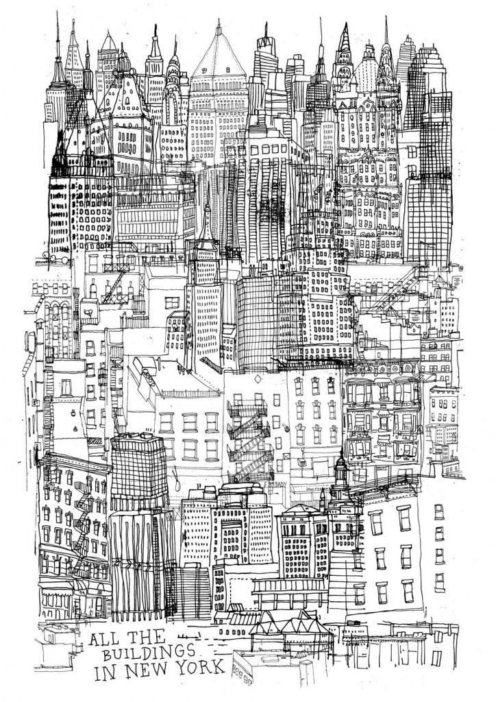 Illustration - All The Buildings In NEW YORK - An attempt to draw all the buildings in New York by James Gulliver Hancock, an illustrator originally from Australia currently based in Brooklyn, New York.