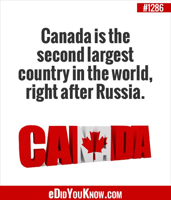 eDidYouKnow.com Canada is the second largest country in ...