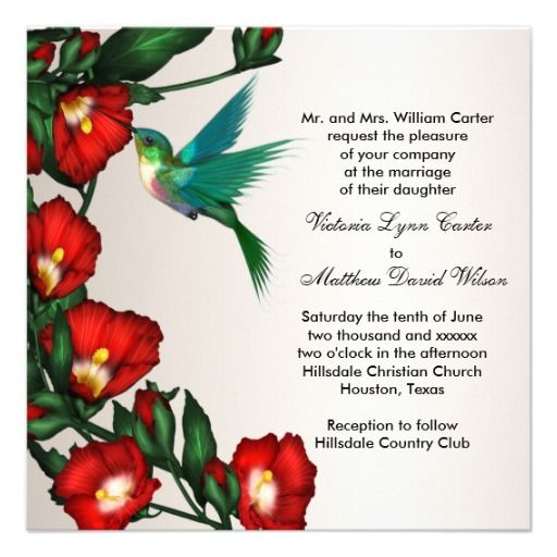 Hummingbird Wedding Invitations  Click on photo to purchase. Check out all current coupon offers and save! http://www.zazzle.com/coupons?rf=238785193994622463&tc=pin
