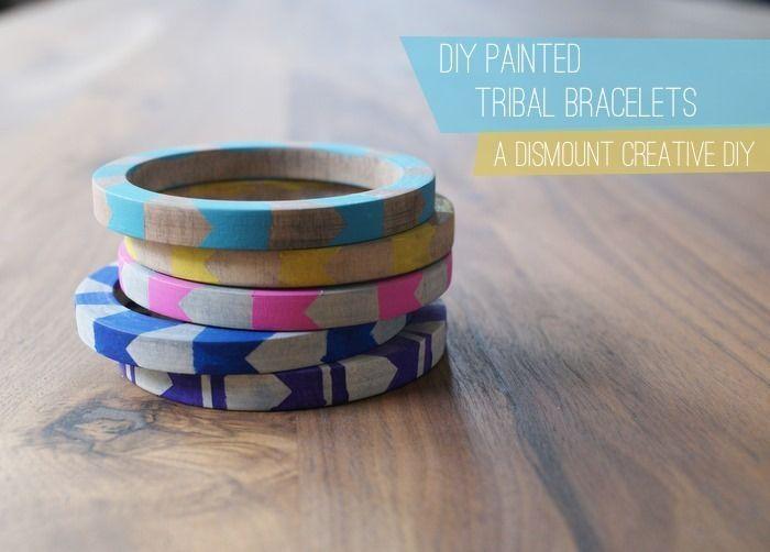 DIY Painted Tribal Bracelets: Painted Tribal, Diy'S, Painted Bracelets, Diy Jewelry, Diy Bracelets, Painted Bangle, Tribal Bracelets