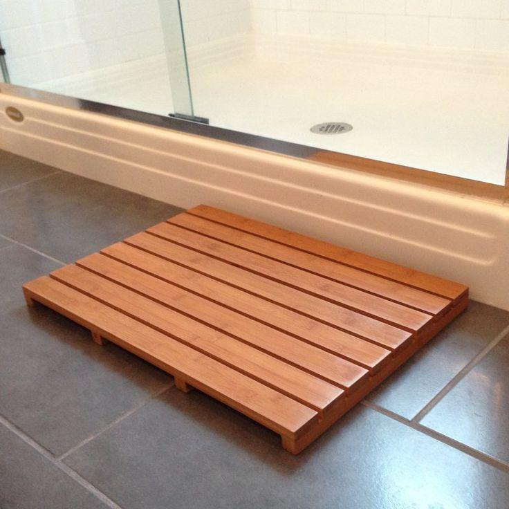 Denisse bamboo bathtub mat bamboo bathroom wood shower