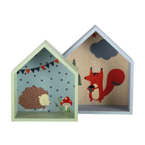 2 étagères enfant maisonnettes en bois grise/verte H 30 et H 35 cm FOREST   Maisons du Monde