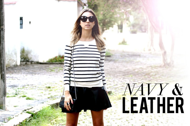 Navy Sweater and Leather Skirt.    Style Update