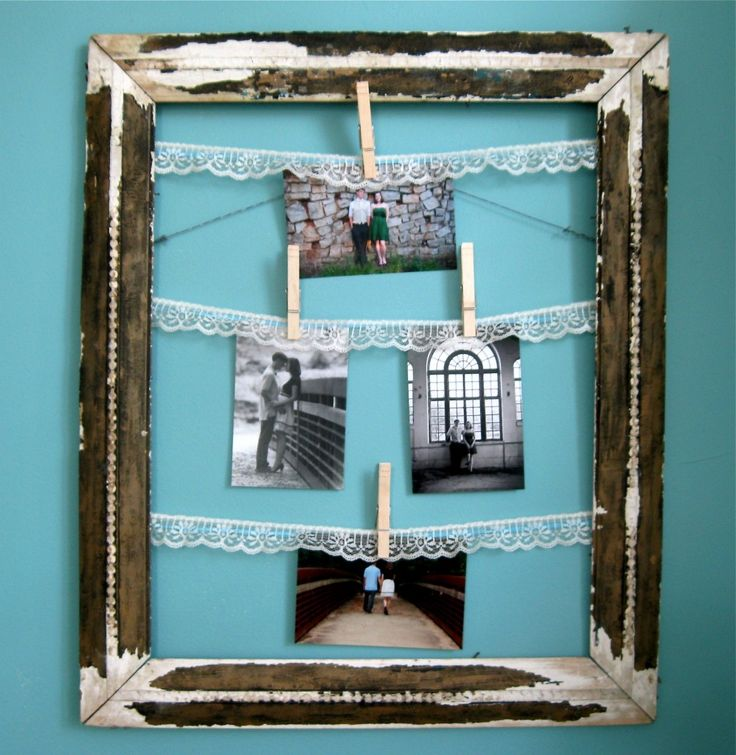 Clothes Pin Frame on Blue Wall