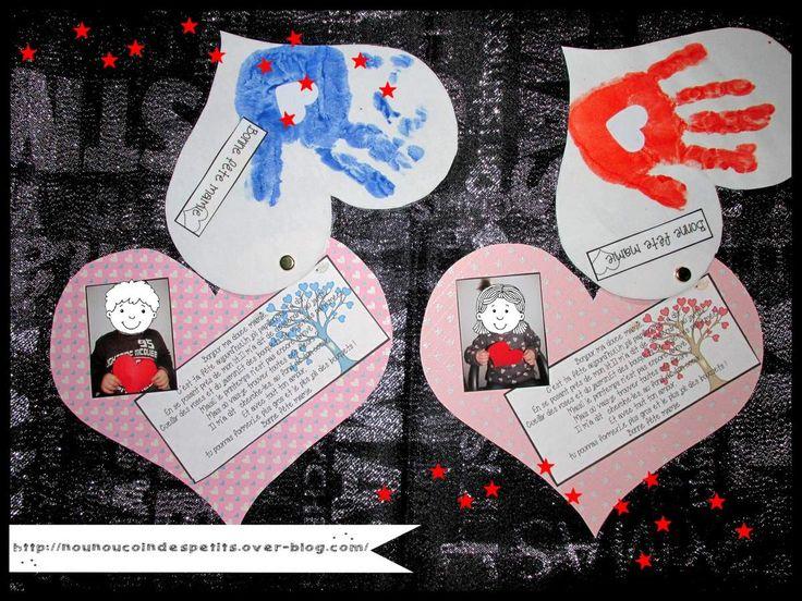 """- Par ce qu'il y a des mamies qui habitent plus loin , nous avons réalisé un gros coeur comme une carte , pour bébé aussi encore trop petit pour faire une jolie création ! - le plus petit des coeurs pour l'empreinte de main + étiquette """" bonne fête mamie..."""