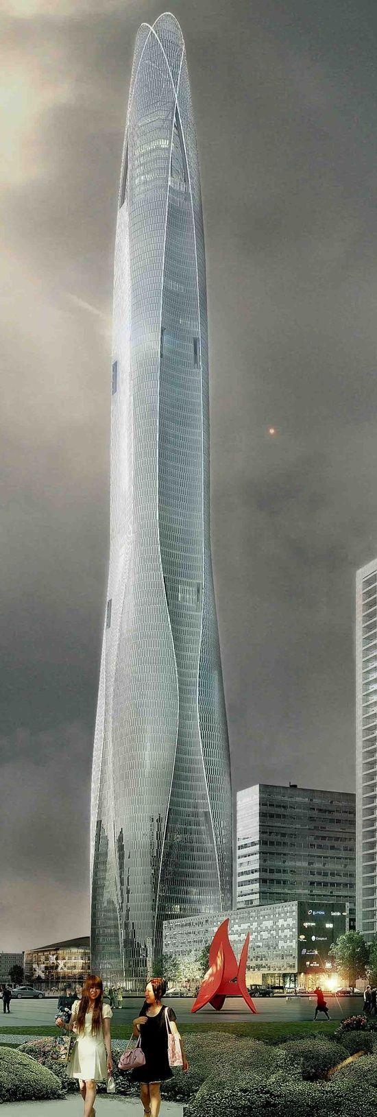 Tianjin Chow Tai Fook Binhai Center, Tianjin, China by SOM Architects :: 97 floors, height 530m