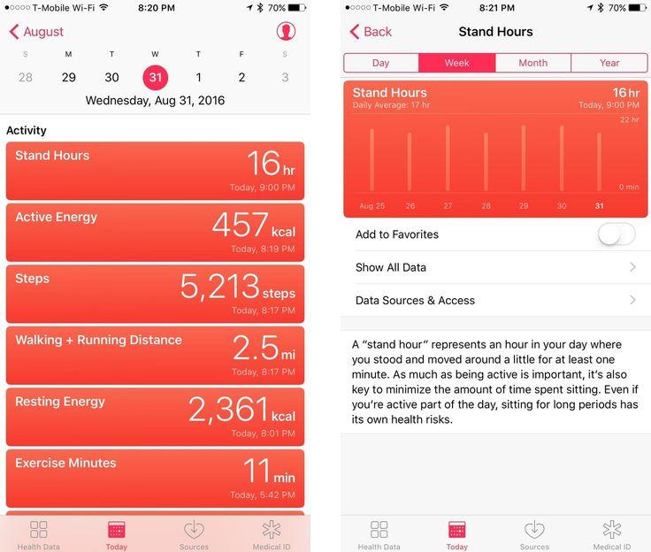 iOS 10 Health Today tab