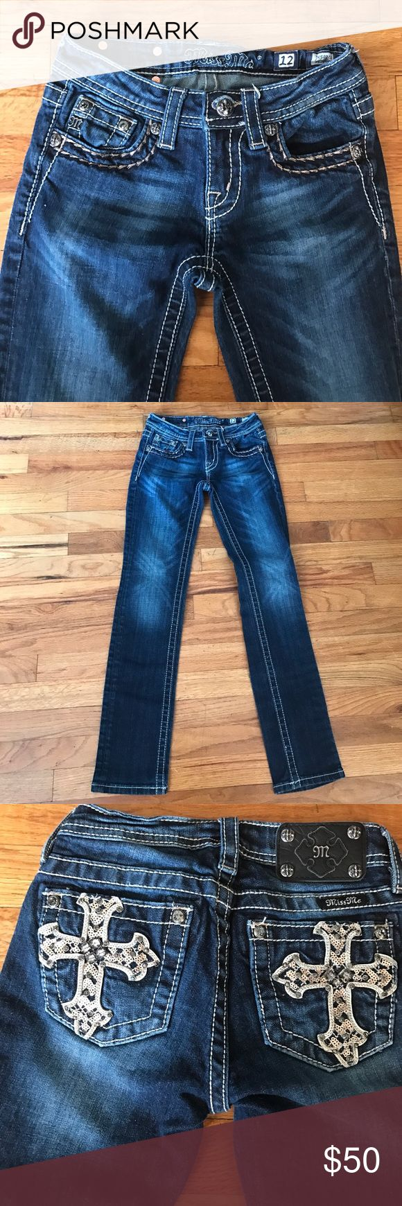 Girl's Miss Me Jeans Girl's Miss Me skinny jeans. Super cute with back pockets blinged crosses (sequins & stones). Size 12. *no trades* Miss Me Bottoms Jeans