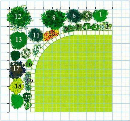1 – Перовския (Perovskia atriplicifolia), высота 90 см 2 – Бергения (вечнозеленое растение), высота 30 см 3 – Диасция (Diascia barberae), высота 30 см 4 – Хауттюйния сердцевидная (Houttuynia cordata), разновидность «Chameleon», высота 30 см 5 – Книфофия, высота 30 см 6 – Розмарин (вечнозеленое растение), высота 120 см 7 – Полынь кипарисовидная, разновидность «Powis Gastle », высота 90 см 8 – Хоризия (Chorisya ternata), вечнозеленое растение, высота 120 см 9 – Карликовая хри