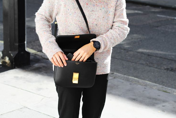 Céline box bag, Acne Studios knit & Stan smith. Via Mija: