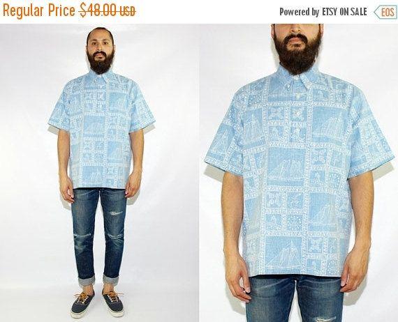 ON SALE Vintage Reyn Spooner Hawaiian Floral Short Sleeve Popover Shirt Reyn Spooner Sailing Shirt Reyn Spooner Nautical Shirt - Large by DiveVintage from Passport Vintage. Find it now at http://ift.tt/2kfwI1M!