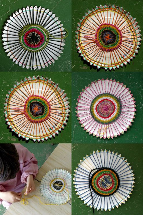 artworks made of paper plates and threads by children - with link to instructions for circle weaving