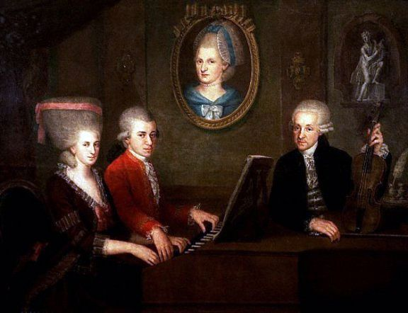 """Mozart family, c. 1780 (image) The Mozart family circa 1780. From left to right, we can see: Maria Anna (""""Nannerl"""") Mozart, her brother Wolfgang Amadeus Mozart, their mother Anna Maria (in the portrait on the wall - she had already passed away) and their father, Leopold Mozart  The painting was done by Johann Nepomuk della Croce (1736-1819)."""