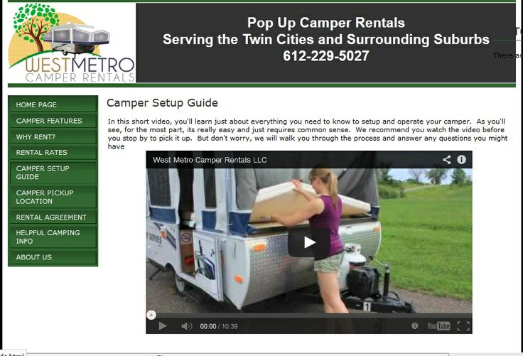 Our Company helps to finding the perfect RV Rental for your holiday in Minneapolis. We offer comfortable and very clean rentals for your trips in the great state of Minnesota. We have a wide selection of Tent Trailer Rentals and RV Rental to fit your camping needs and your budget. For more details and quality Rv Rental, visit our website: http://www.mn-rv-rental.com/Camper_Setup_Guide.html