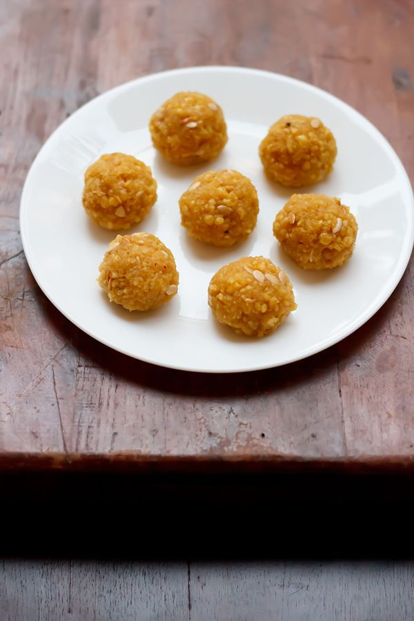 motichoor ladoos - melt in the mouth ladoos made from gram flour. one of the most popular indian sweet. step by step recipe.