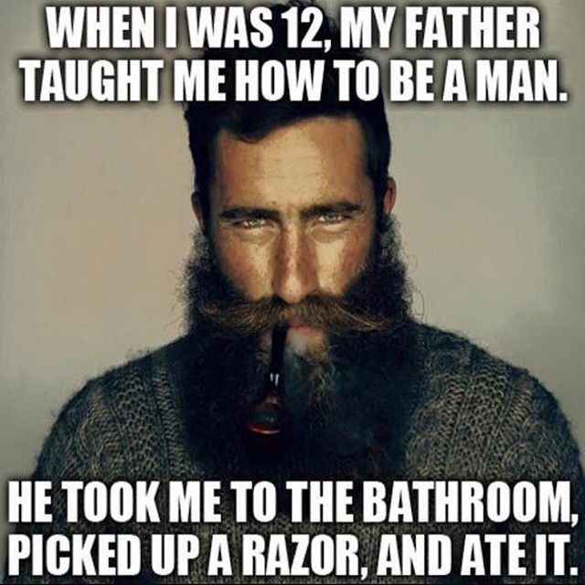 Society's stereotype that men need to be rugged and tough.