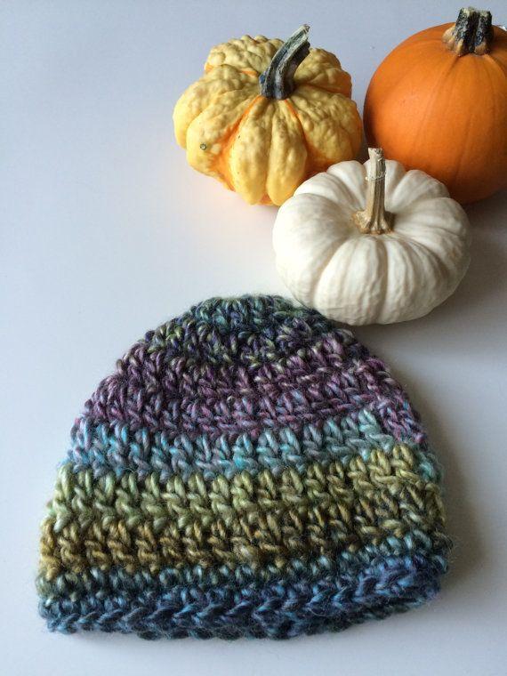 Rainbow Newborn Crochet Hat - Green Purple Newborn Hat - Multicolour Baby Boy Hat - Blue Beanie for Newborns - Handmade Hat