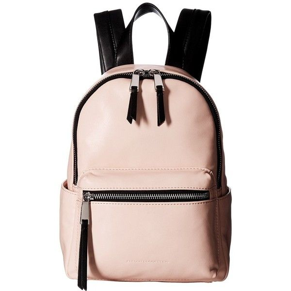French Connection Perry Mini Backpack (Pink Opal) Backpack Bags ($61) ❤ liked on Polyvore featuring bags, backpacks, strap bag, faux-leather backpack, french connection, zipper bag and mini backpack