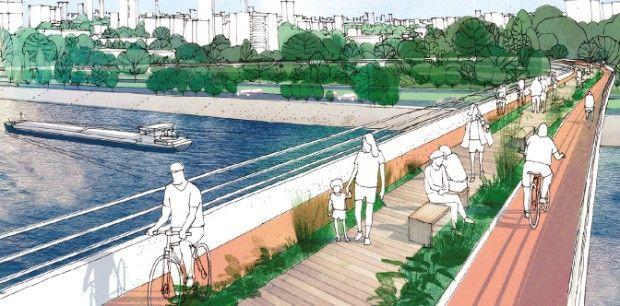 Passarelas com ciclovias e parques lineares são algumas das propostas para o tietê.