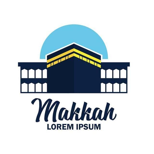 Makkah Kaaba Hajj Omra Logo With Text Space For Your Slogan Vector Illustration Gaya Poster Poster