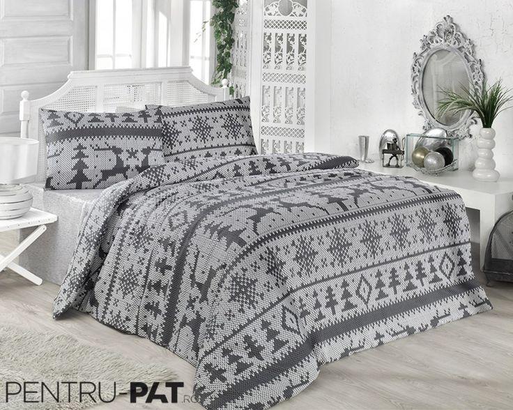 Set cuvertura pat pentru o persoana Anatolia black & white
