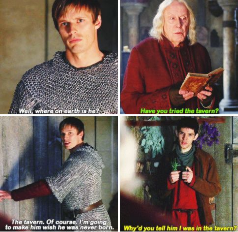 Merlin - It was the first thing that popped into my head. Next time, go for the second or third thing just anywhere but the tavern