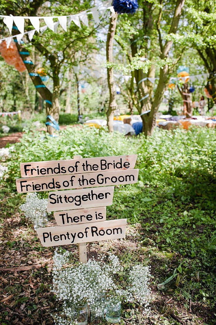 Ceremony Sign Words Guests Wooden Colourful Outdoor Woodland DIY Yurt Wedding http://alexa-loy.com/