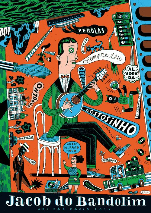 Love the colour and underground comic book style of Berlin illustrator Henning Wagenbreth. Poster for an August 2014 conference in Brazil called AGI Open Sao Paulo.