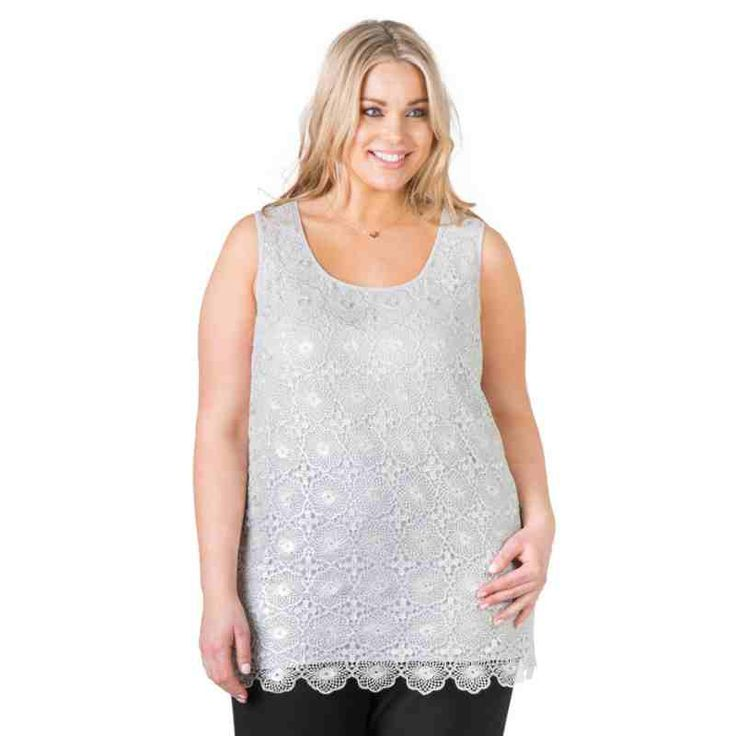 PRE-ORDER - Lace Tank (SILVER) $69.95 http://www.curvyclothing.com.au/index.php?route=product/product&path=95_104&product_id=6745