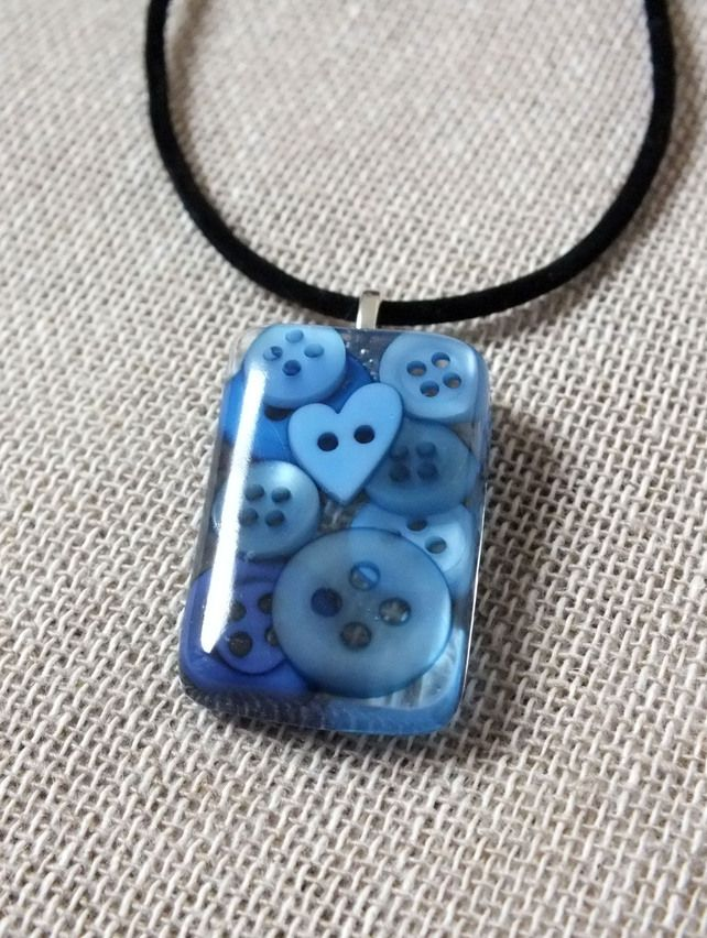 Blue Button Resin Pendant Necklace - Seaside Blue - Heart Button