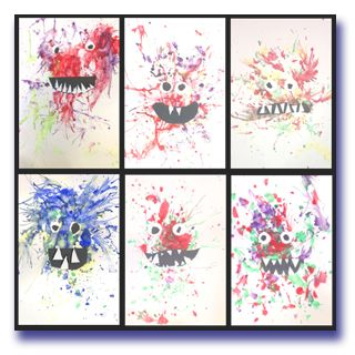 Image of scary monster blow paintings