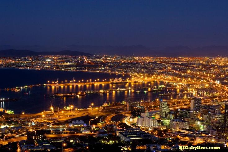 Skyline of Cape Town at night