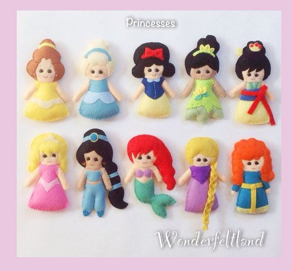 Disney Princesses felt plush toy or Ornaments (Belle, Cinderella, Snow White, Aurora, Jasmine, Ariel, Tiana, Mulan, Rapunzel, Merida)