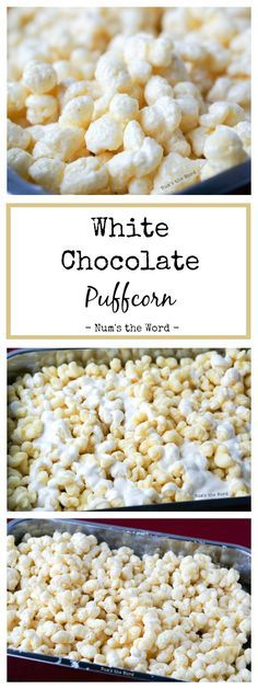 White Chocolate Puffcorn is the easiest 10 minute treat that works well at any gathering! Baby Shower, Bridal Shower, Birthday Party or Christmas gift! #dessert #appetizer #snack #puffcorn #chocolate #whitechocolate #holiday #christmas #gift #recipe #numstheword