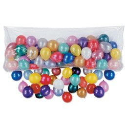 """This plastic balloon drop bag is 12 feet wide and holds up to 100 6"""" to 8"""" balloons. It is perfect for New Year's, birthdays, anniversaries, surprise parties and more. The bag is fully assembled and h"""