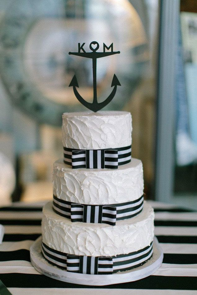 Hmmmmm. I am normally not a fan of ribbon on cake, but I think the navy stripe ribbon could potentially be calling me? |  Love the added traditional flair of rustic icing vs fondant. Nix the anchor + hitch up on height w/ galvanized metal or classic silver cake stand / pedestal. Really like an added floral detail, but sparce. Maybe both pale pink + coral? (Nix striped cloth linen. What were they thinking there...?) | LFF Designs | www.facebook.com/LFFdesigns