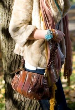 jeans JBrand, tee Nation, boots Miu Miu, jacket Juicy, hat Reiss, bag Chloe, turqouise bracelet and earrings Vintage, orange bangle Hermes and scarf Dries van Noten #details