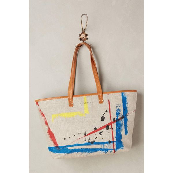 Clare V Art Informel Tote ($299) ❤ liked on Polyvore featuring bags, handbags, tote bags, assorted, pink handbags, leather tote bags, laptop tote, leather purse and laptop tote bag
