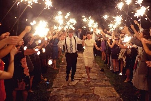 Sparklers for the Send off...light with candles on tables