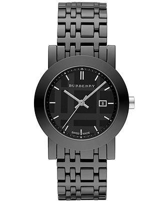 Burberry Watch, Women's Swiss Black Ceramic Bracelet 34mm BU1871 - Burberry - Jewelry & Watches - Macy's