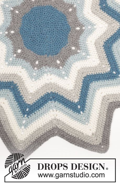 "Pole Star - Crochet DROPS rug with stripes and zig-zag pattern in ""Eskimo"". - Free pattern by DROPS Design"