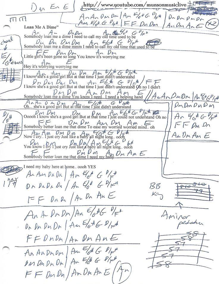 Loan Me A Dime - Guitar Chord Chart