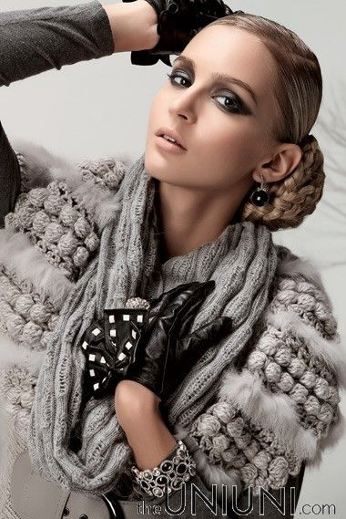 fur and crochet...   note the fur with bobbles.... Вязаный мех.Идеи…