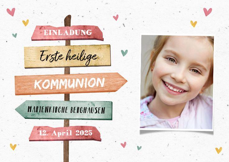Einladung zur Kommunion Foto & Wegweiser – Kommunionskarten #kommunionskarten #k… – Kaartje2go | Deutschland
