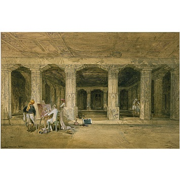 Buddhist vihara cave, Ajanta (Painting). William Simpson painted Major Gill as he recorded the paintings at Ajanta, 1862